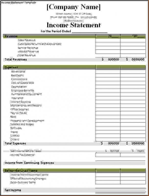 Personal Income Statement Template shatterlioninfo - generic income statement