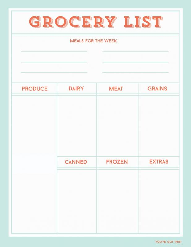 Printable Grocery Lists Template - Fiveoutsiders - printable grocery lists template