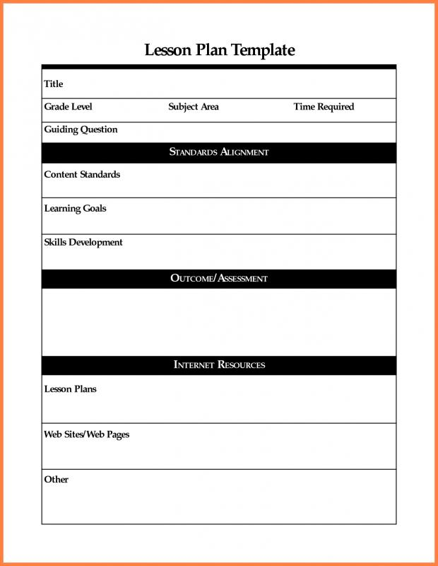 Printable Lesson Plan Template shatterlioninfo