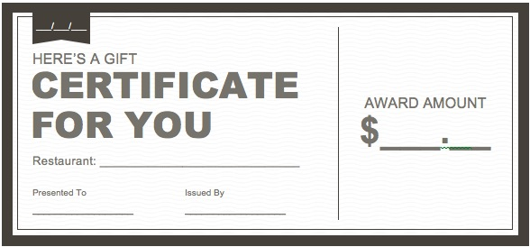 restaurant gift certificate template free download - Ozilalmanoof