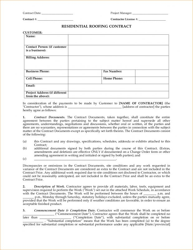 Roofing Contract Template shatterlioninfo - Roofing Contract Template