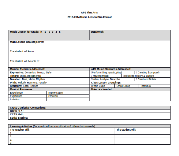 easy lesson plan template word - Minimfagency - easy lesson plan template