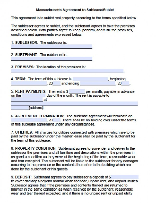 Sublease Contract Template shatterlioninfo