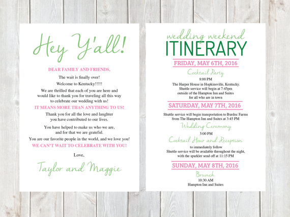Wedding Itinerary Template shatterlioninfo