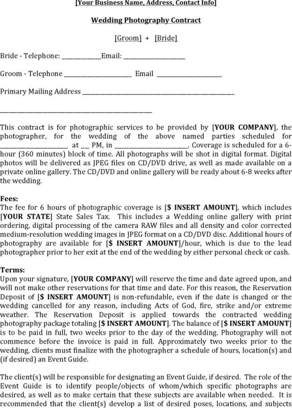 Wedding Photography Contract Template shatterlioninfo