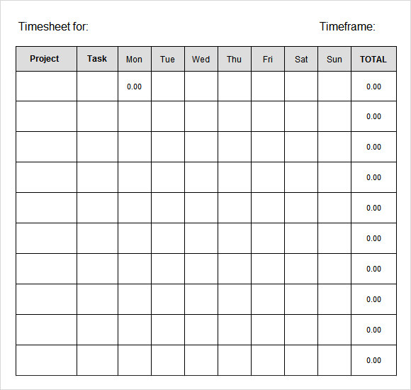 Weekly Timesheet Template | ophion.co