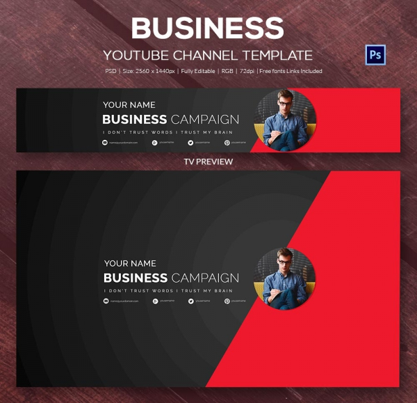 Youtube Channel Banner Template shatterlioninfo