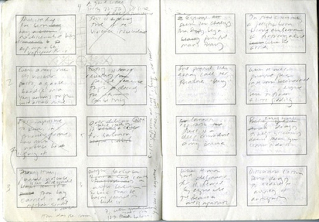 Handwritten notebook pages showing part of Jennifer Egan's plan for her story 'Black Box'