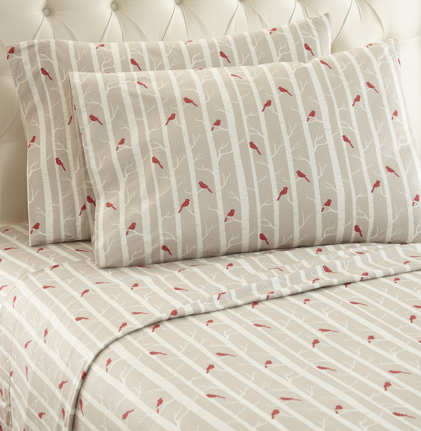 Printed Sheet Sets Cardinal Bird Patterned Micro Flannel Sheets Micro Flannel Bedding