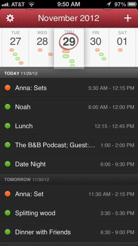 The DayTicker in Fantastical for iPhone