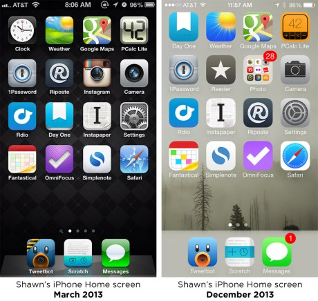 Shawn Blanc iPhone Home screen comparisons
