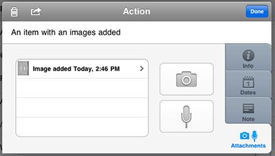 A photo attachment on OmniFocus for iPad