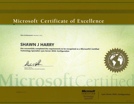 Shawn Harry Microsoft Certified Technology Specialist - microsoft certificate of excellence