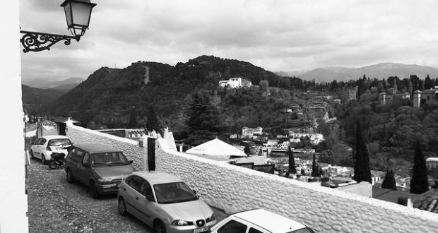 Granada Spain in black and white