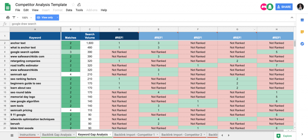 google sheet templates