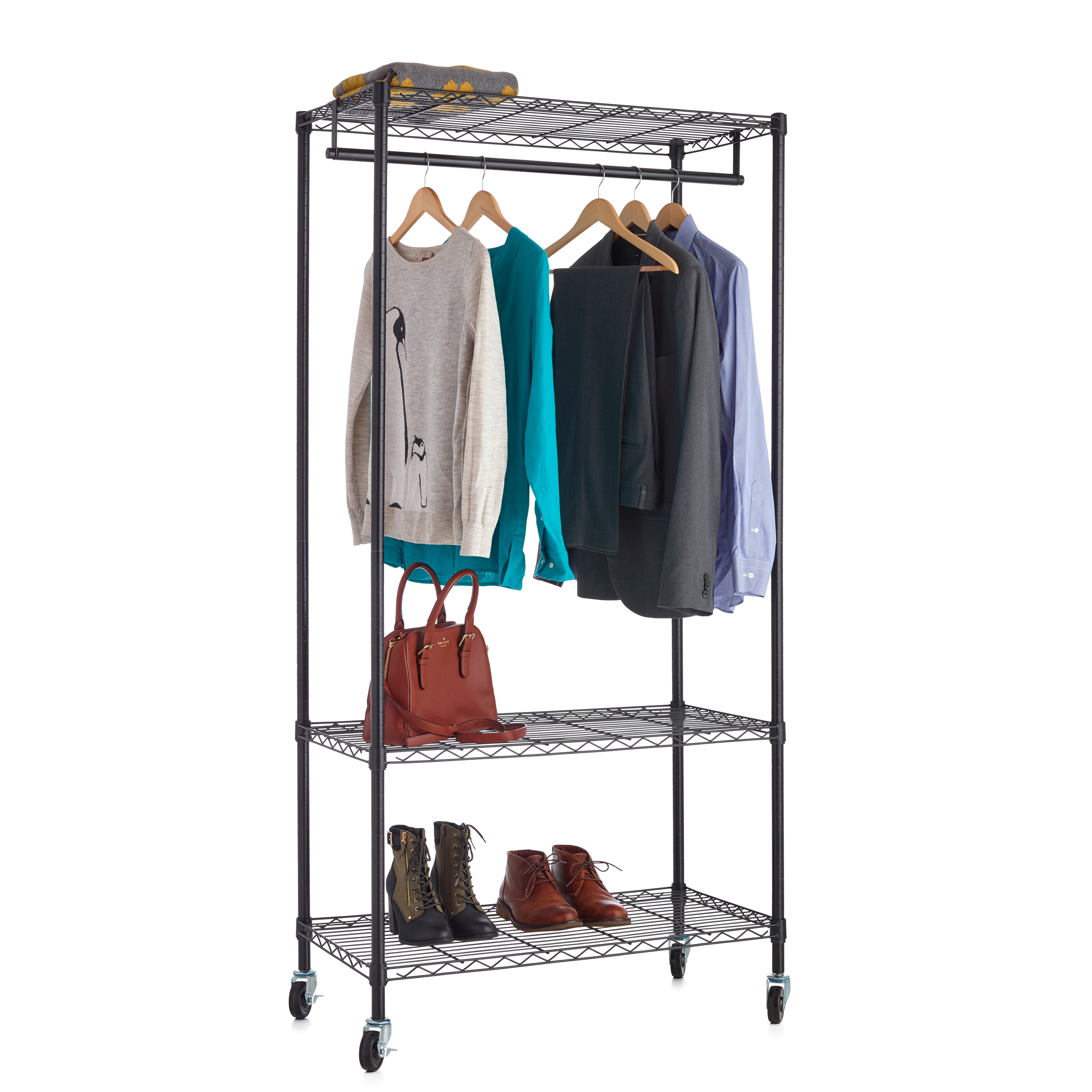 Cloth Rack 18x48 3 Tier Black Wire Clothes Rack | Wire Shelf Additions