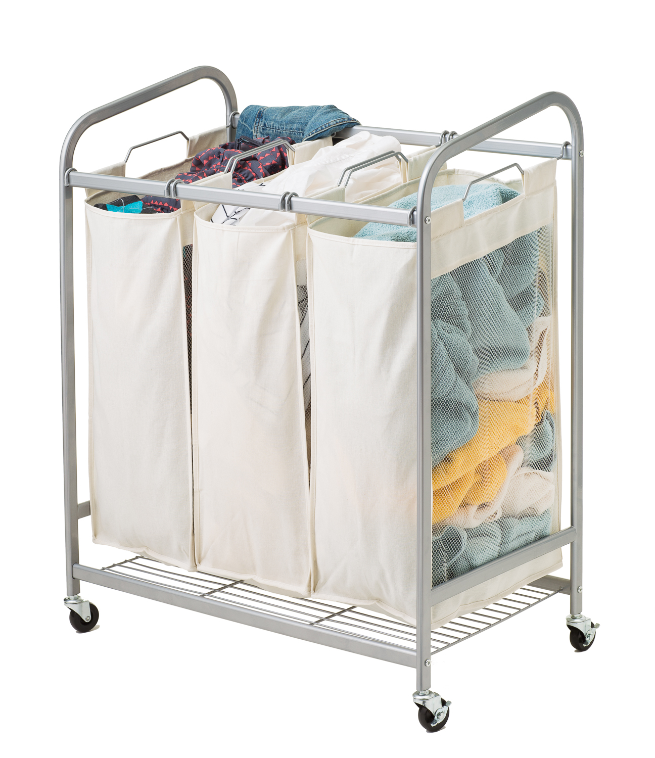 Wire Laundry Hamper On Wheels 3 Bag Metal Laundry Sorter In Silver Wire Shelf Additions