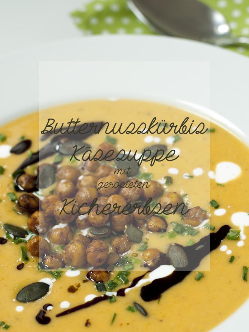 Kürbis-Käse-Suppe mit gerösteten Kichererbsen