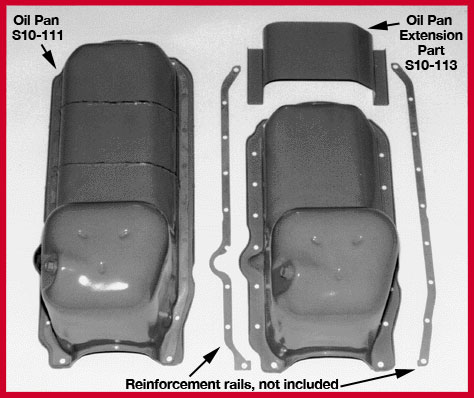 S-10 Truck 4x4 V-8 Oil Pan Extension, and S10 V8 4x4 Oil Pan
