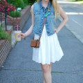 White Dress; Denim Vest Summer Outfit
