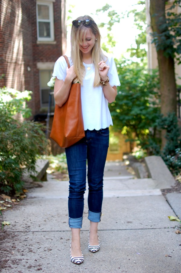 White Scalloped Tee