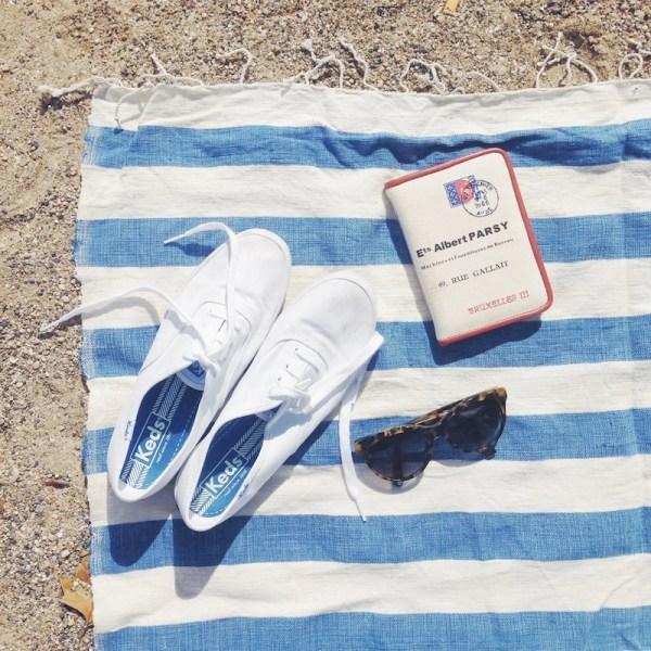 blue striped beach blacket