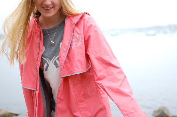 pink rain coat