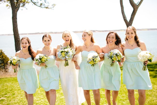 Green Seersucker Bridesmaid Dresses