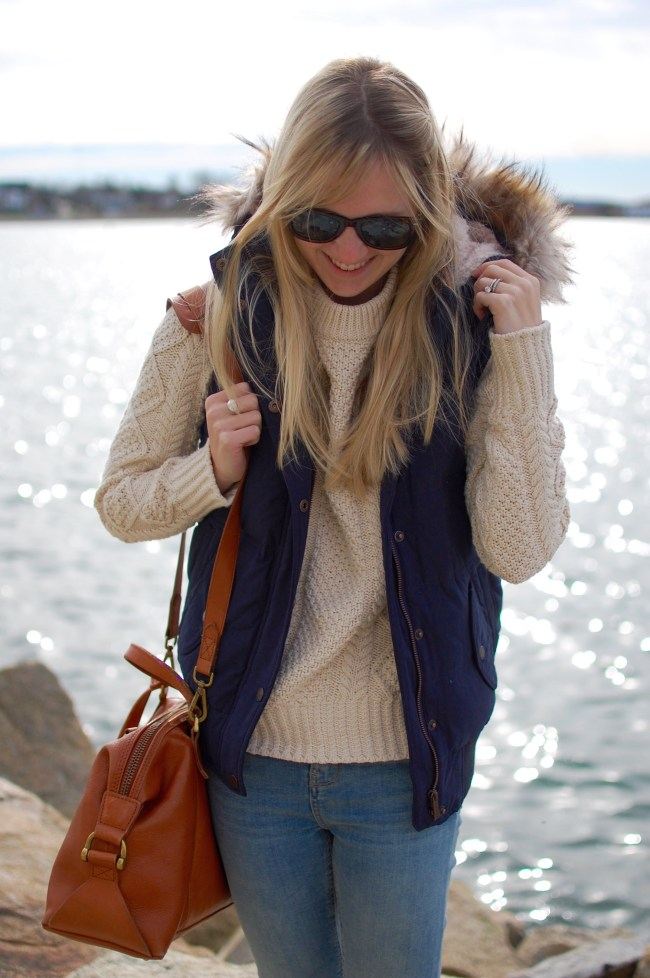 Navy Fur Lined Vest