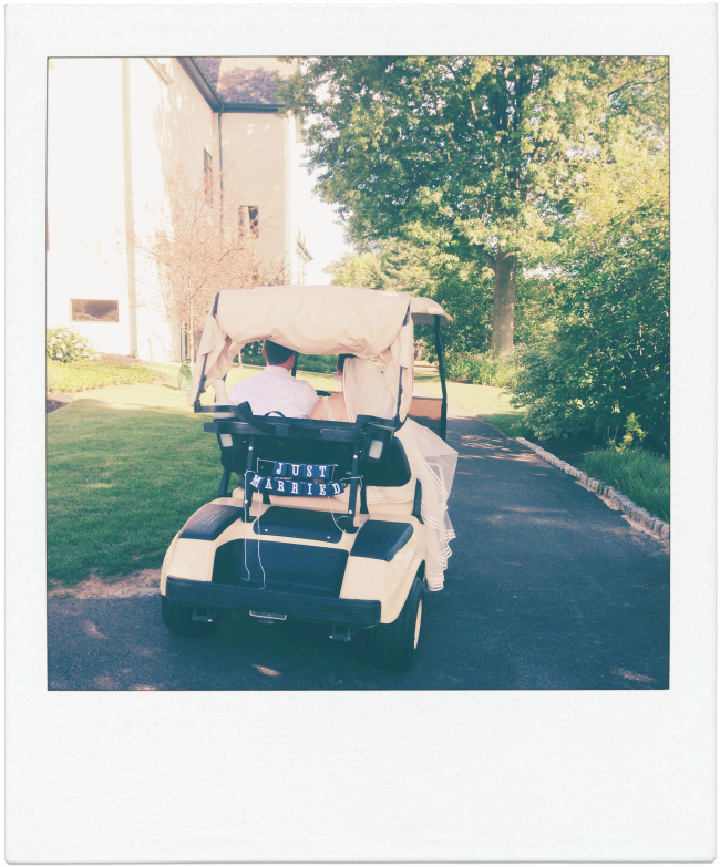 Golf Cart Wedding Getaway