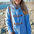 j.crew blue hooded toggle coat