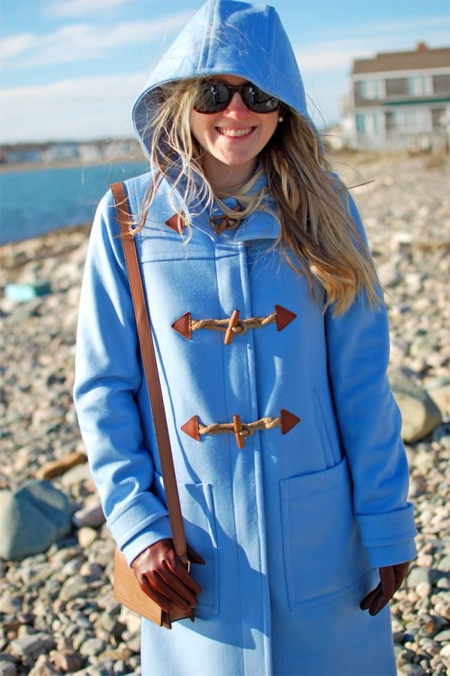 j.crew blue classic wool coat hooded toggle