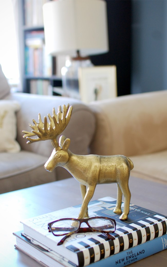 Gold Reindeer Stocking Holder