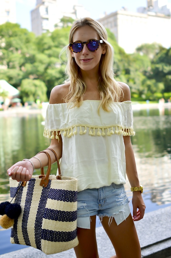 Katie Bliss | Pom Pom Off the Shoulder Top
