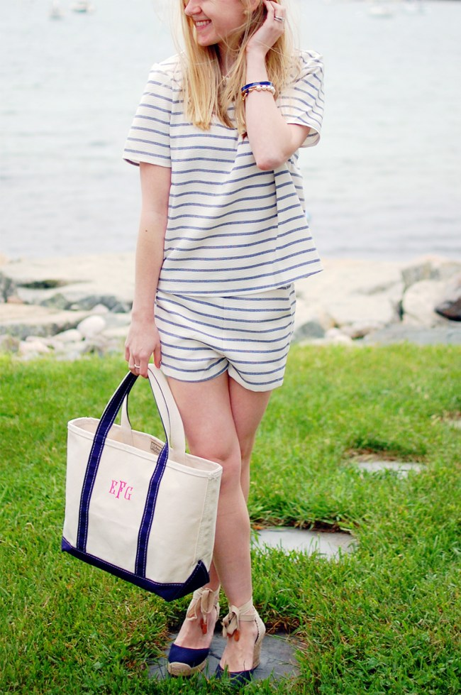 blue white striped crop top set