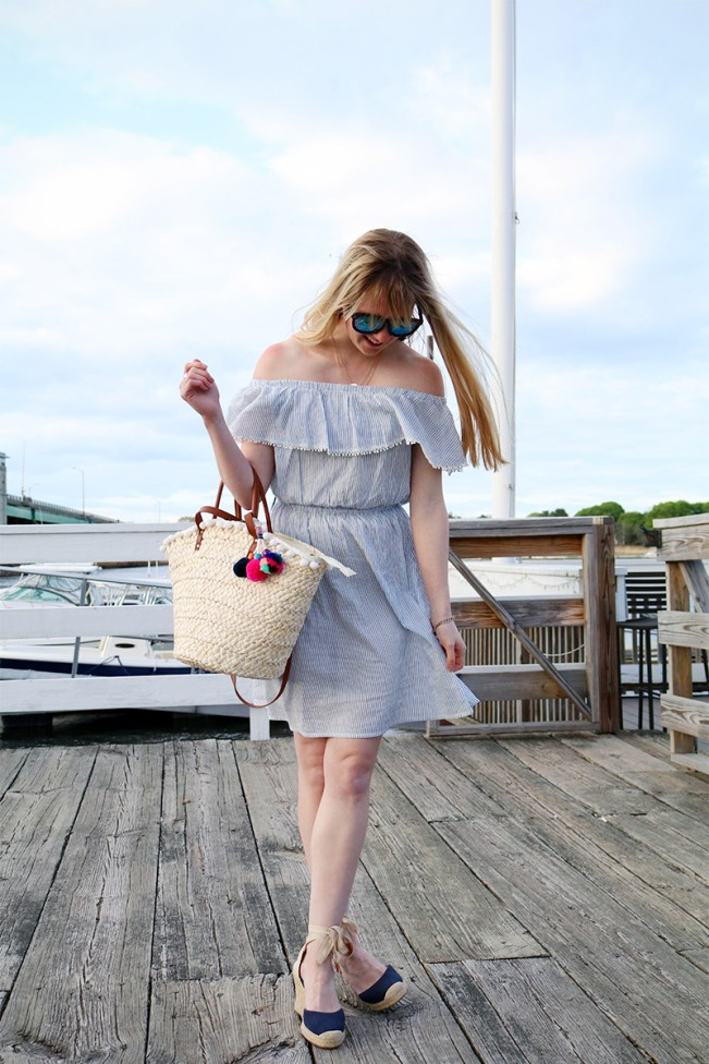 seersucker off the shoulder dress
