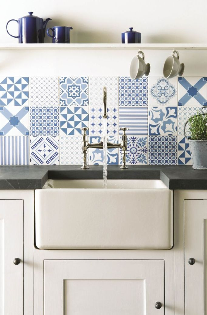 blue patchwork tile farm sink
