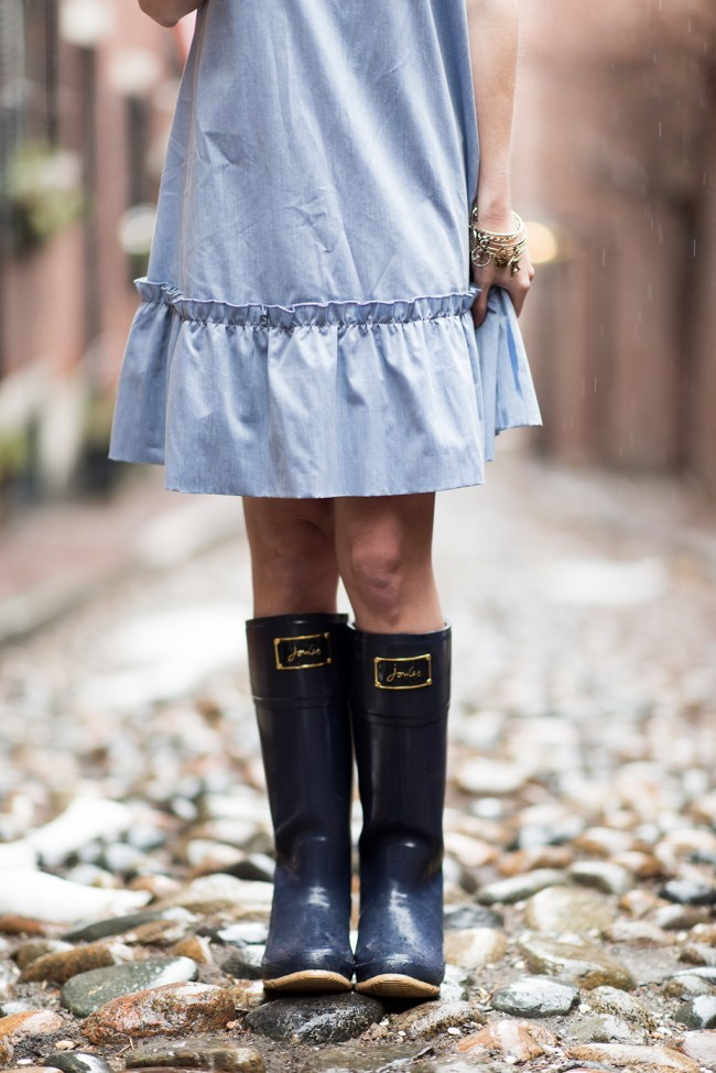 joules navy bow rain boots