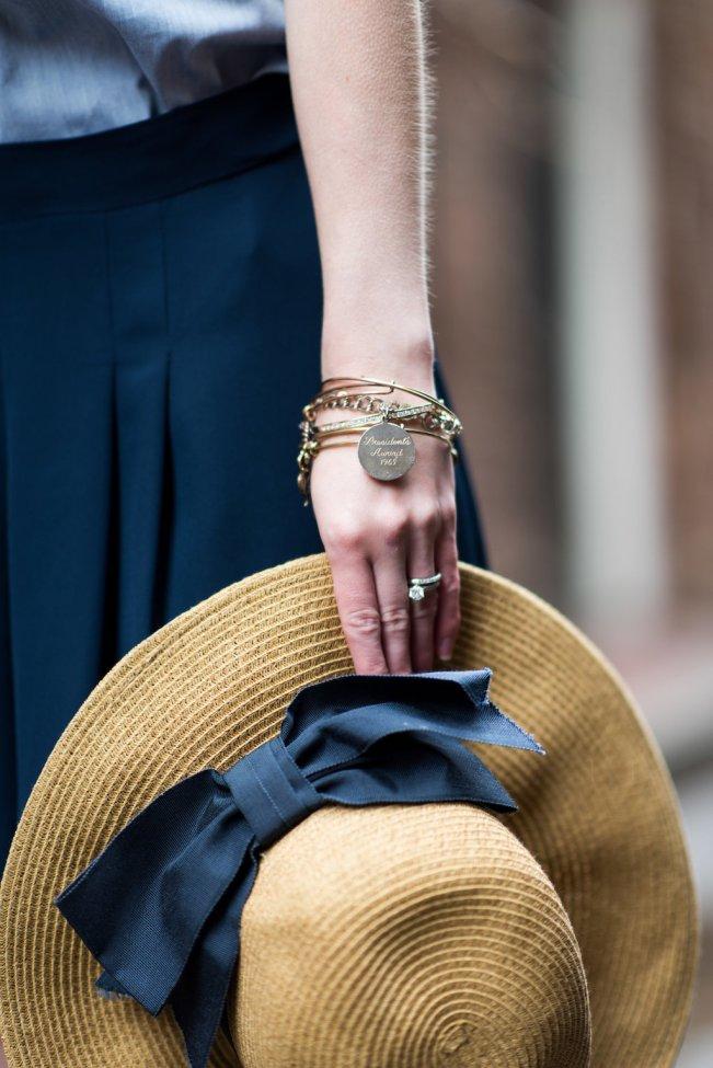 navy bow straw hat