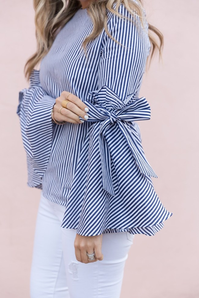 striped shirt bell sleeves