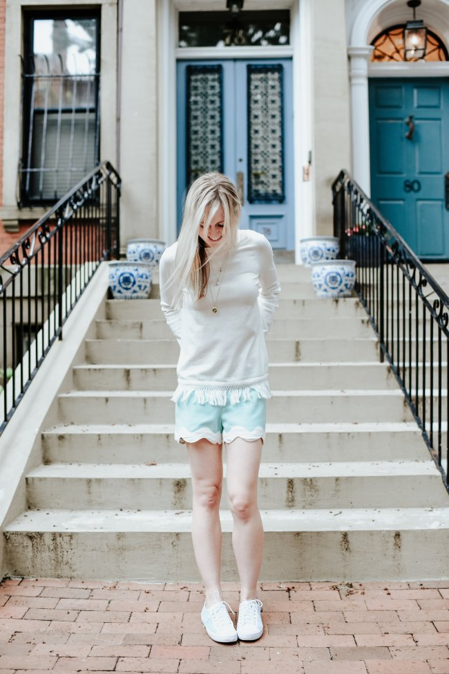 mint green scallop short
