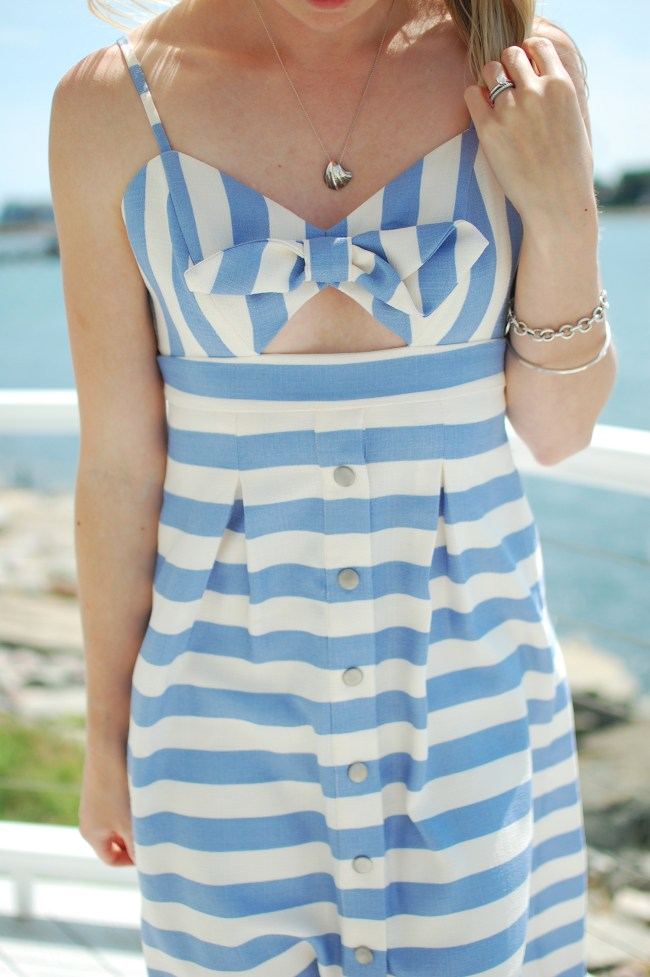 striped bow cut out dress
