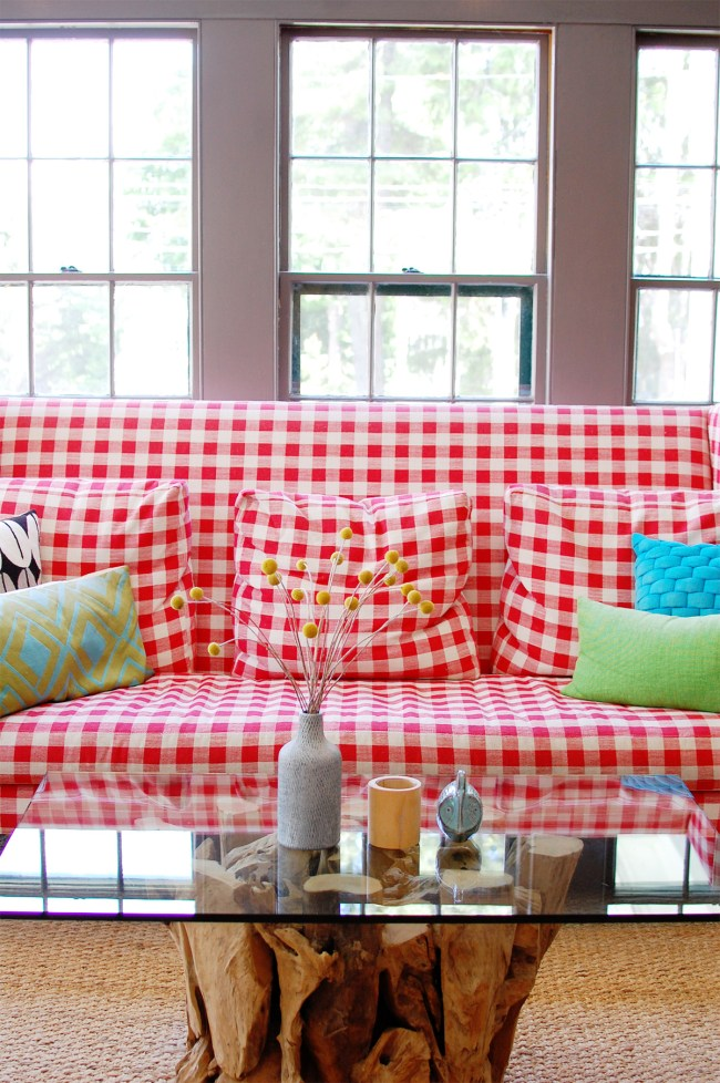 red gingham couch