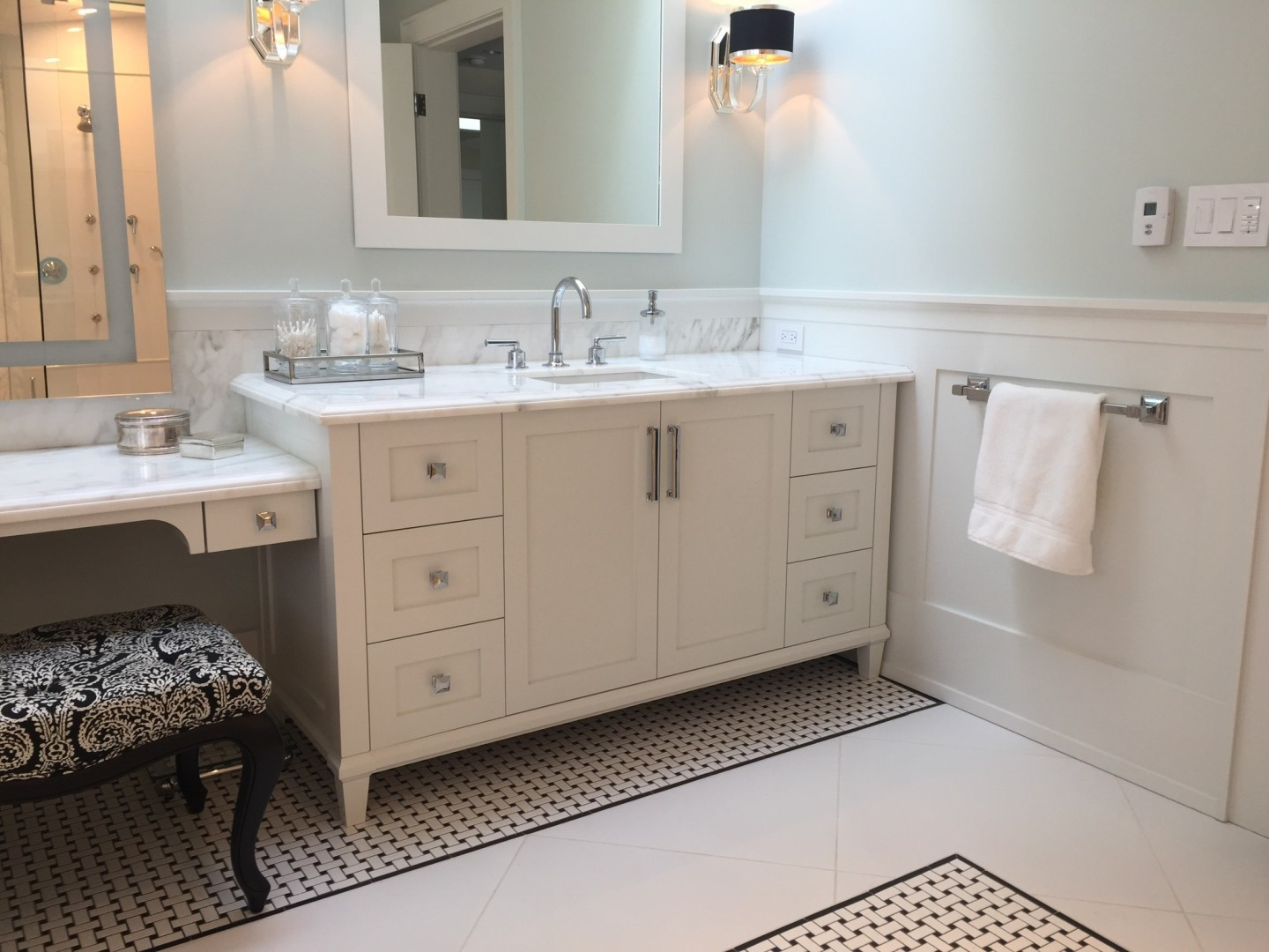 Luxury Bathroom Design With Calcutta Marble Vanity By Shelley Scales