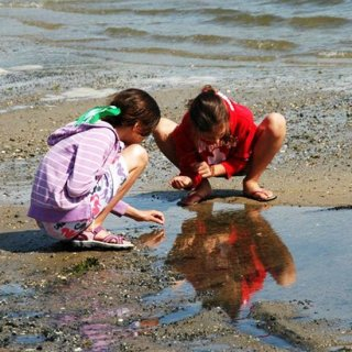 Two girls clamming