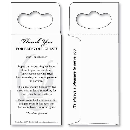 Tip Envelope - Doorknob Hanger Sheppard Envelope