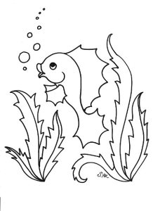 S.Mac's Funny Fish Coloring Page, Bubbles