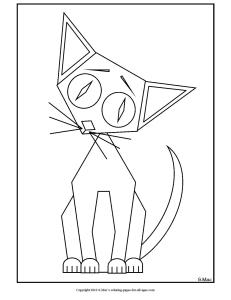 S.Mac's Geo Kitty Coloring Page