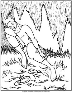 S.Mac's Pierrot Coloring Page, Pierrot Napping Under Tree