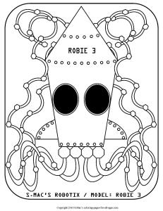 S.Mac's Robot Coloring Page, Robie 3